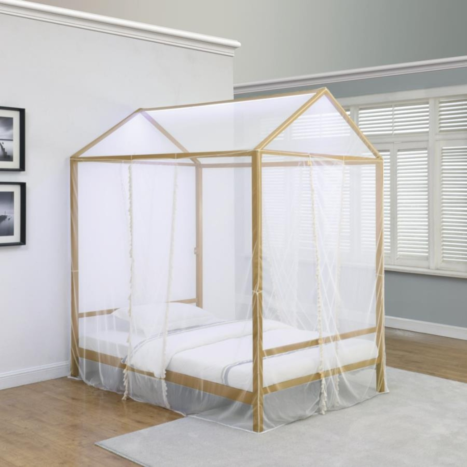 LED Full Tent Bed In Matte Gold W/ White Fabric - image-2