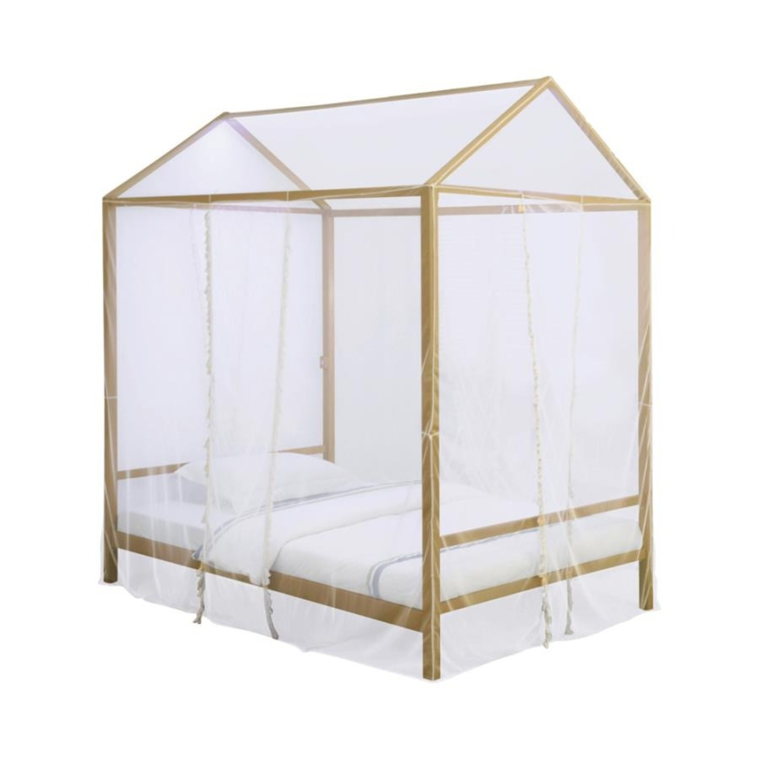 LED Full Tent Bed In Matte Gold W/ White Fabric - image-0
