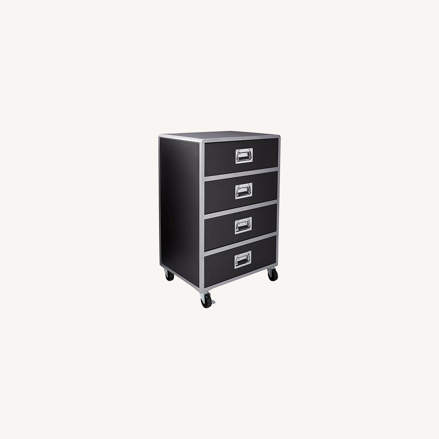 Chest In Black & Silver Finish W/ Lockable Casters - image-6