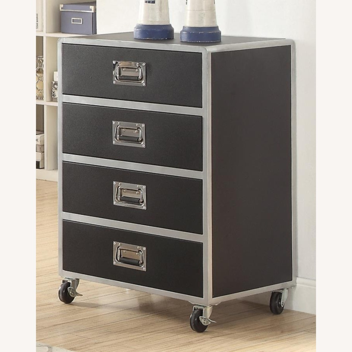 Chest In Black & Silver Finish W/ Lockable Casters - image-3