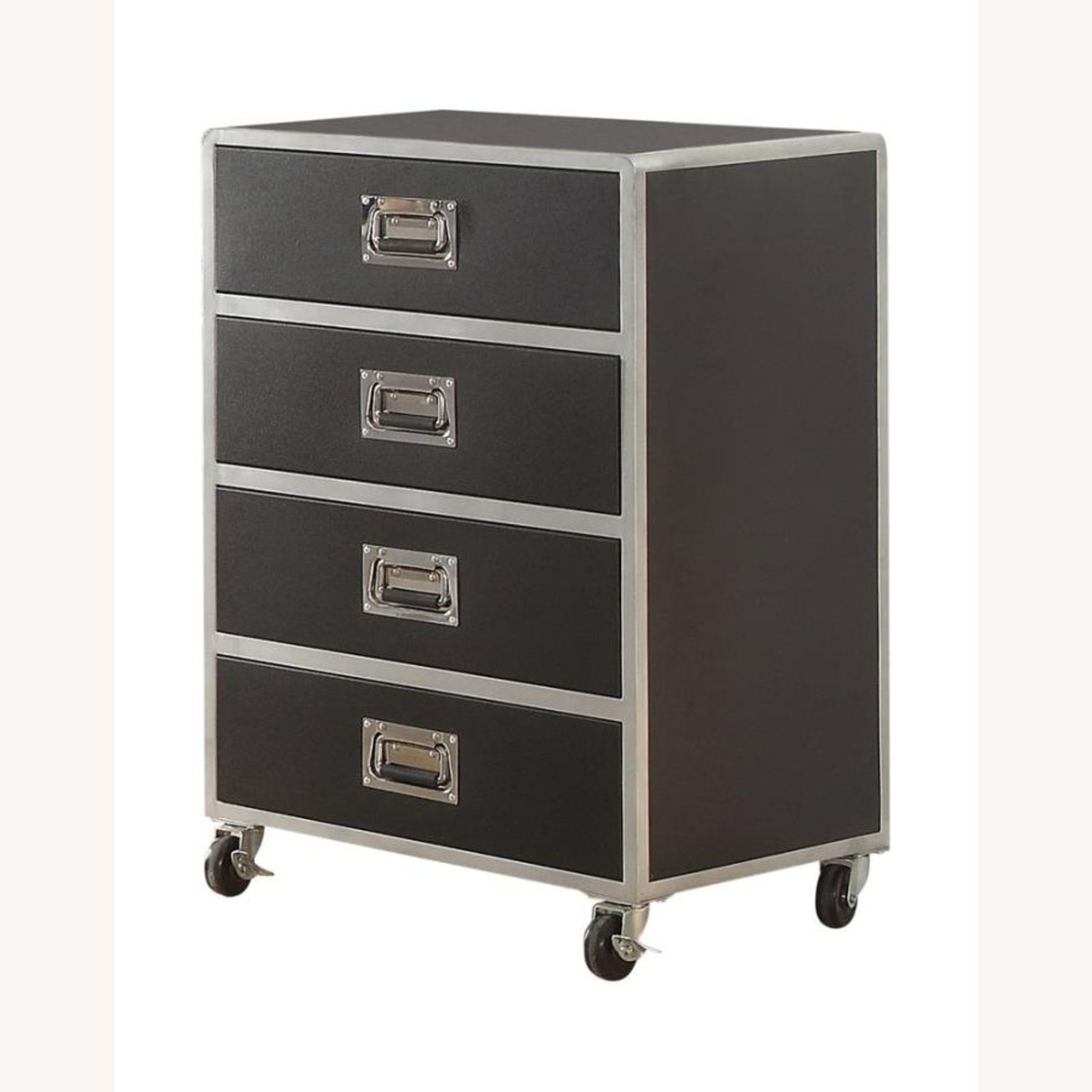Chest In Black & Silver Finish W/ Lockable Casters - image-1