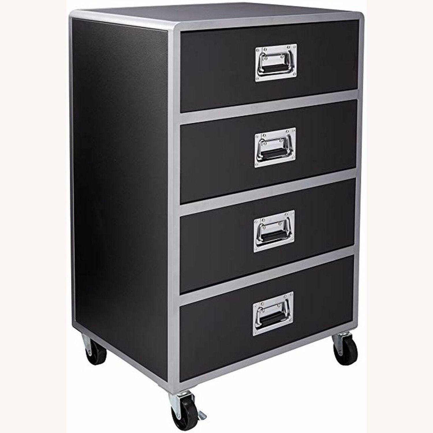 Chest In Black & Silver Finish W/ Lockable Casters - image-0