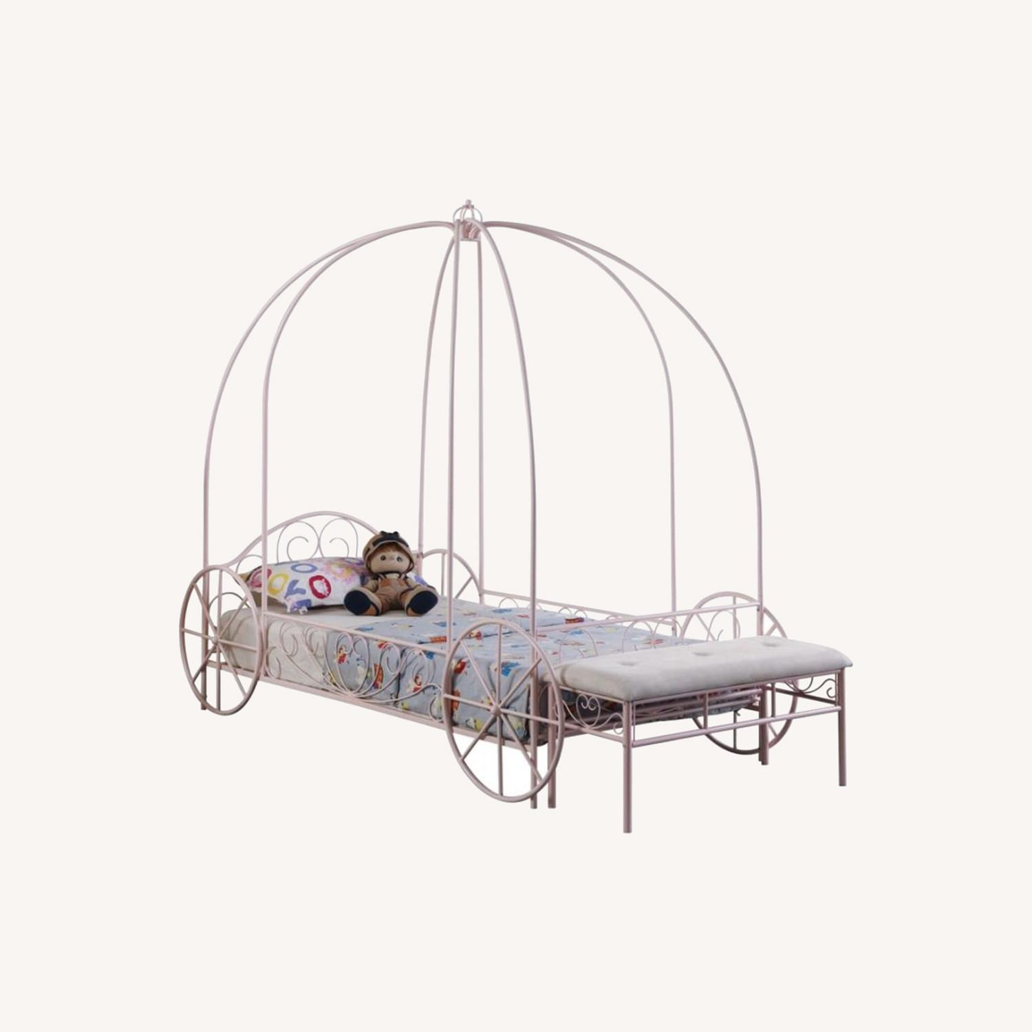 Twin Canopy Bed In Powder Pink Metal Finish - image-4