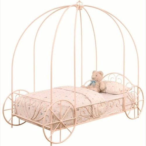 Used Twin Canopy Bed In Powder Pink Metal Finish for sale on AptDeco