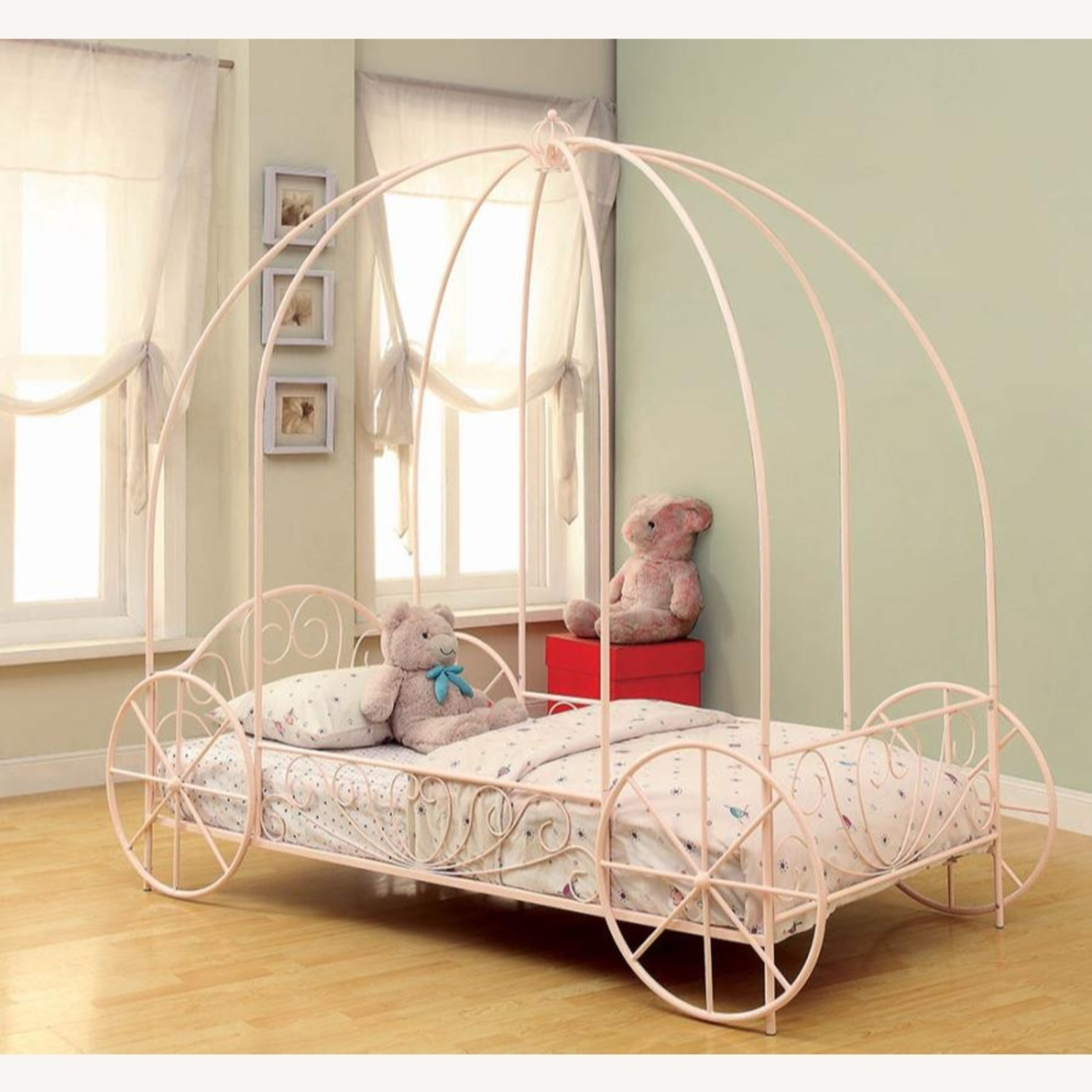 Twin Canopy Bed In Powder Pink Metal Finish - image-2
