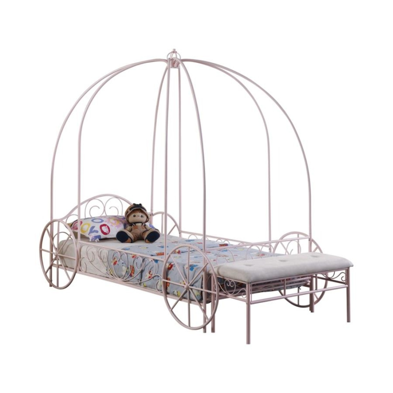 Twin Canopy Bed In Powder Pink Metal Finish - image-0