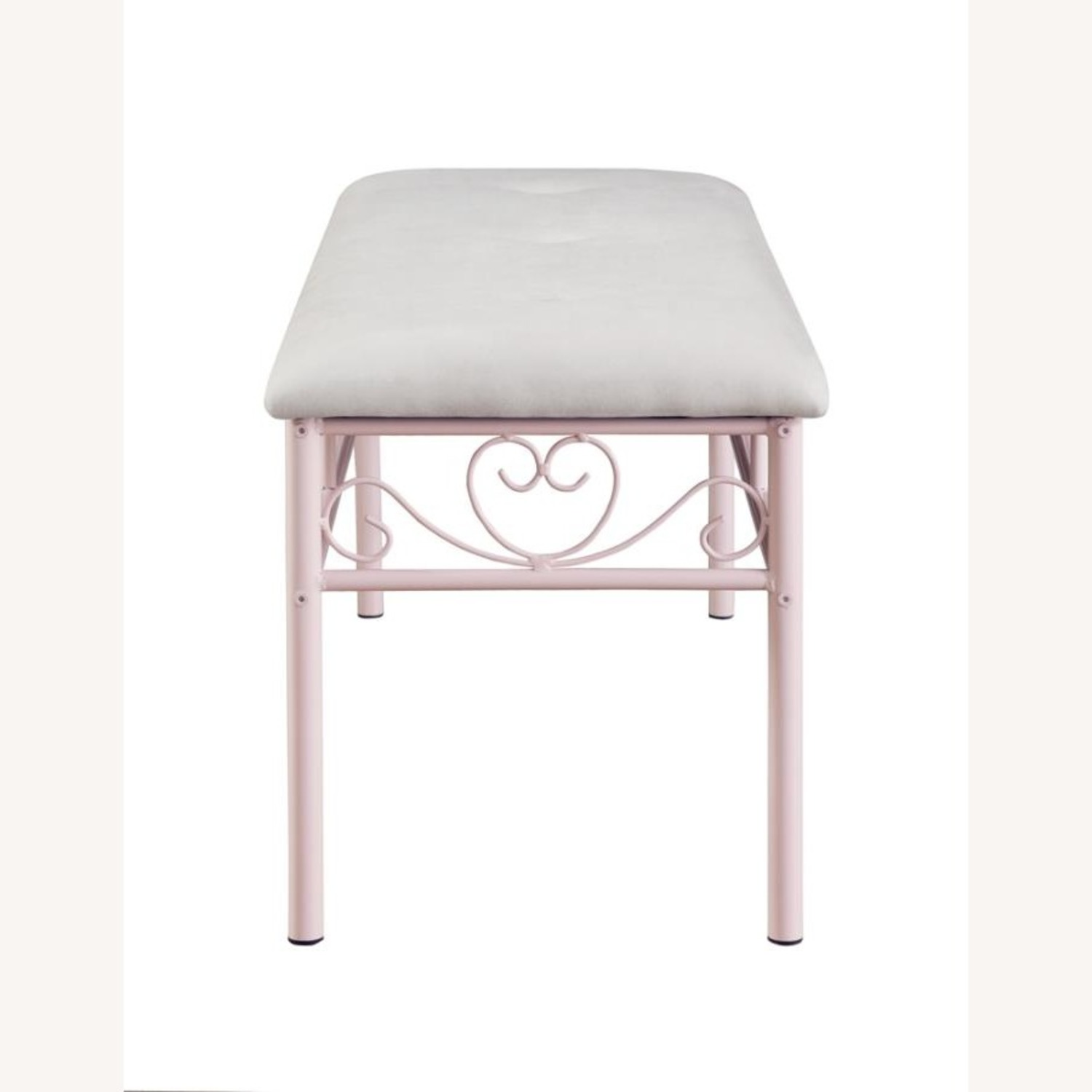 Bench In Powder Pink W/ Ivory Fabric Upholstery - image-2