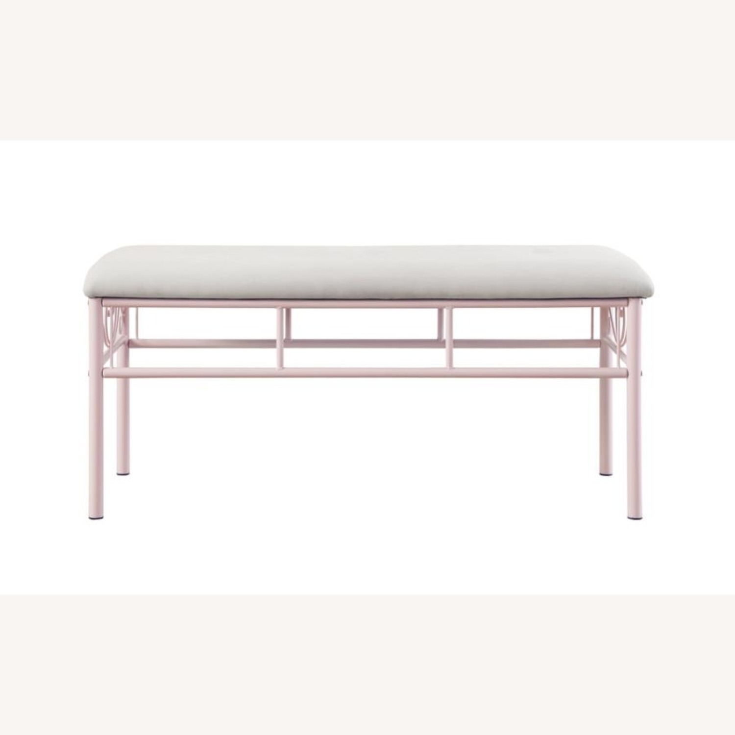 Bench In Powder Pink W/ Ivory Fabric Upholstery - image-1