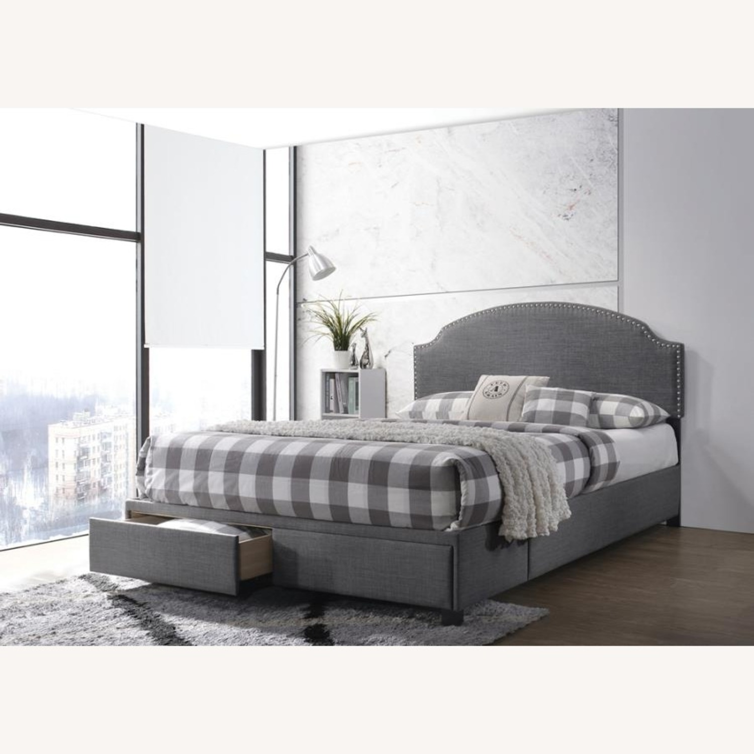 Queen Storage Bed In Charcoal Fabric W/ 2 Drawers - image-2