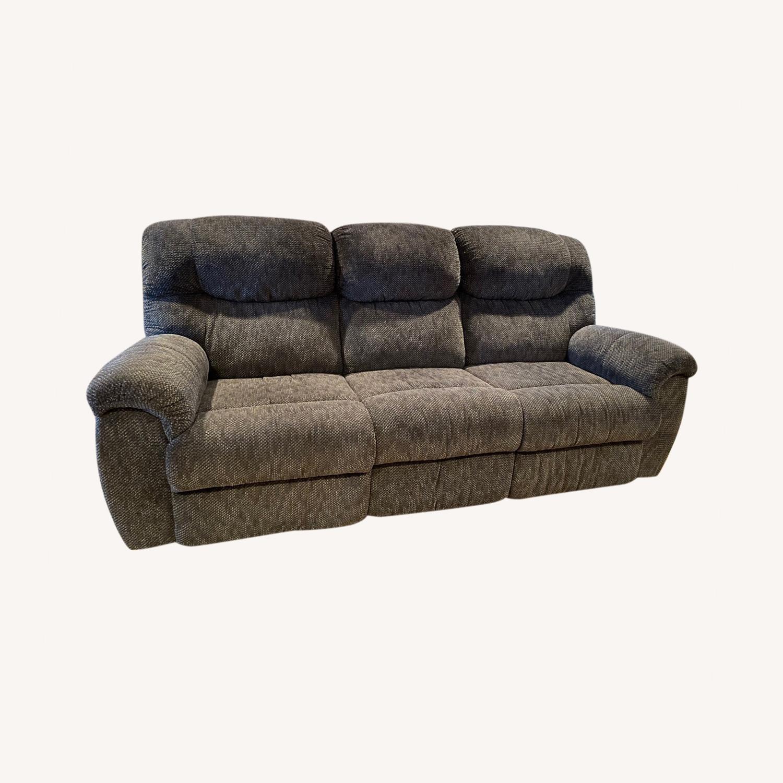 Double Recliner Comfy Grey Sofa - image-0