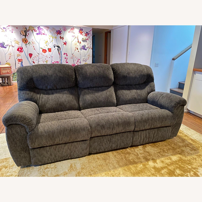 Double Recliner Comfy Grey Sofa - image-1