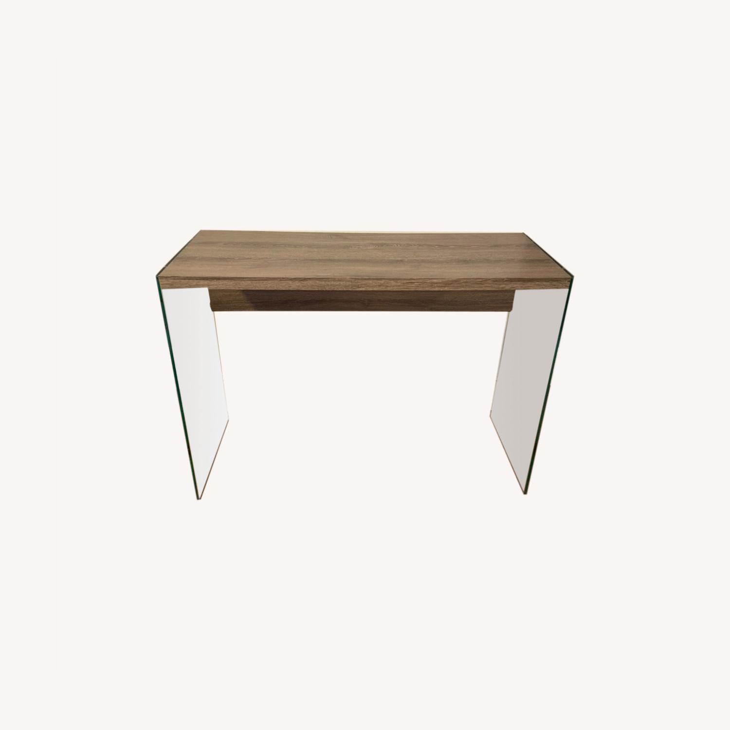Contemporary Glass / Wood Veneer Table Console - image-0