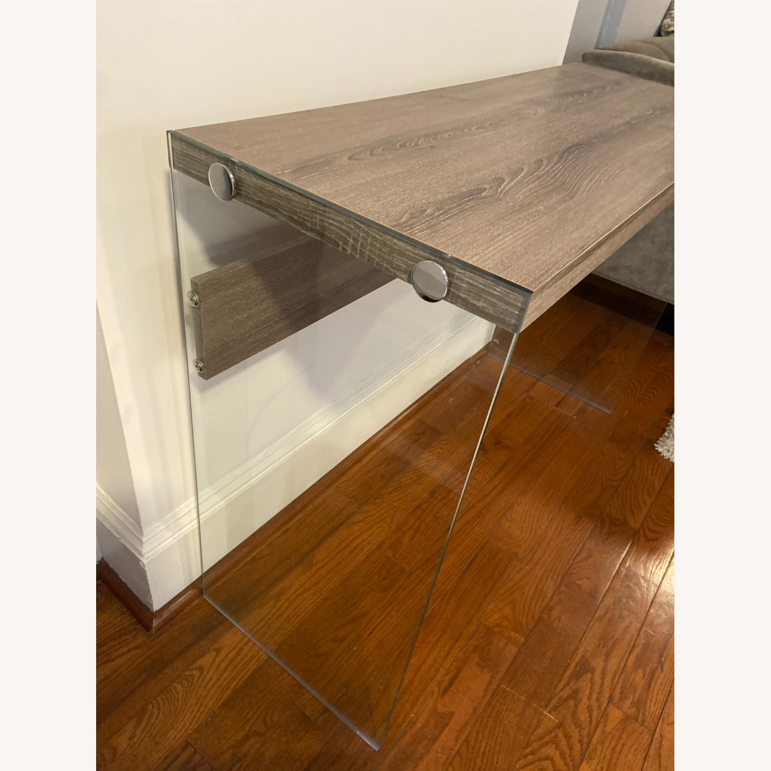 Contemporary Glass / Wood Veneer Table Console - image-5