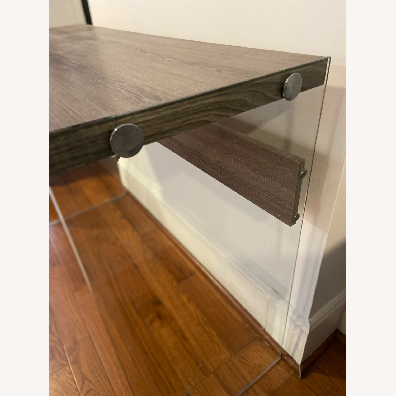 Contemporary Glass / Wood Veneer Table Console - image-3
