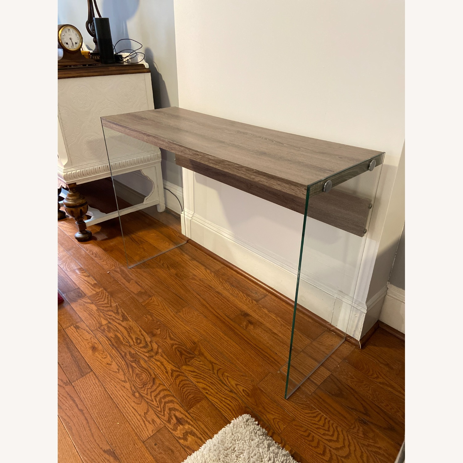 Contemporary Glass / Wood Veneer Table Console - image-2