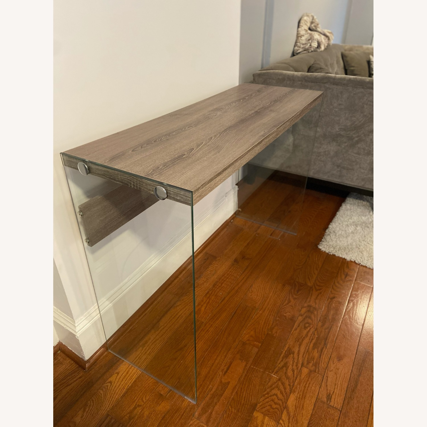 Contemporary Glass / Wood Veneer Table Console - image-6