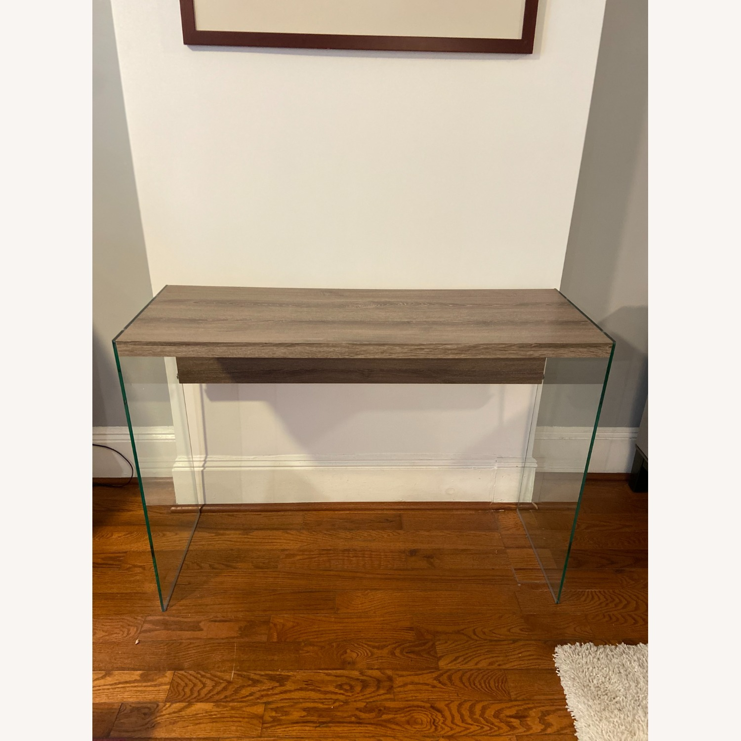 Contemporary Glass / Wood Veneer Table Console - image-1