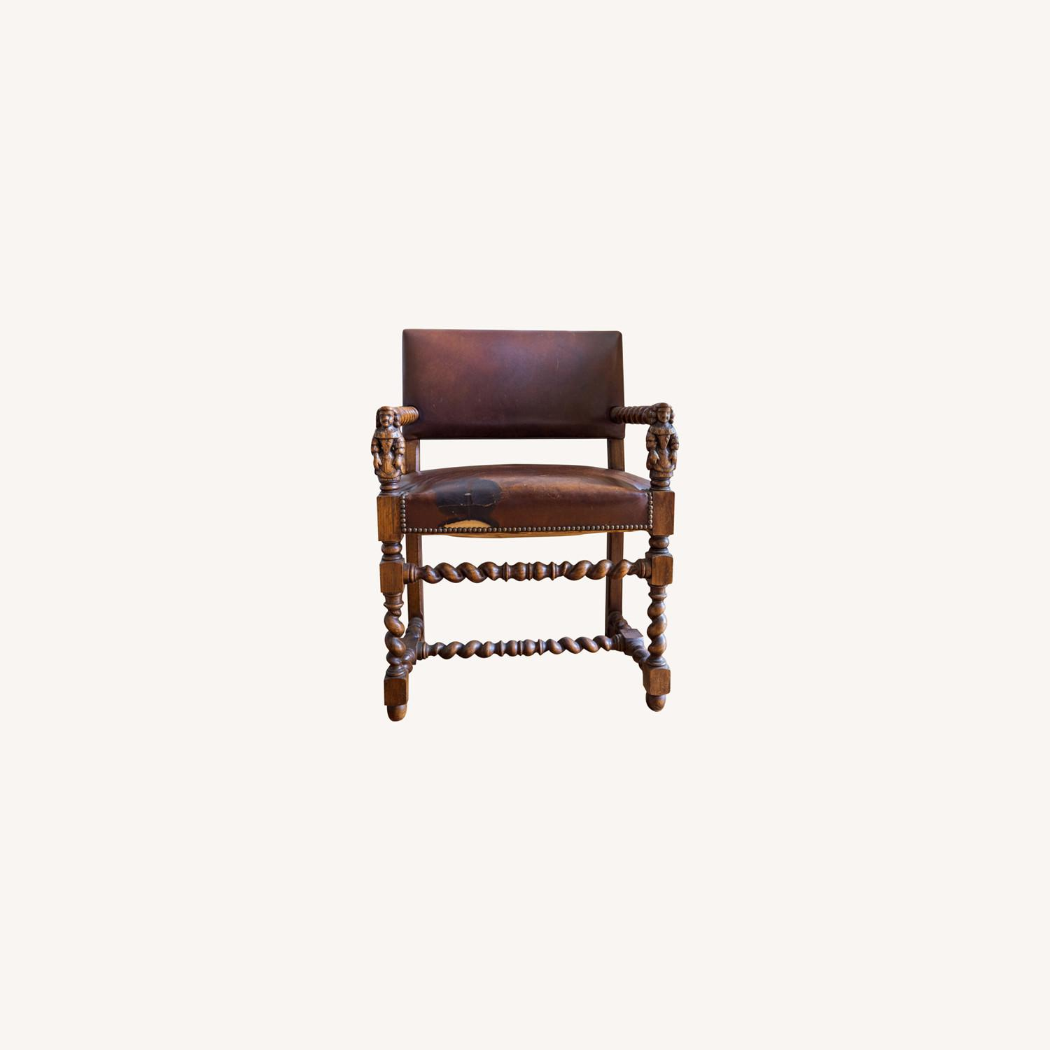 Wooden Antique Chair with Carved Men - image-0