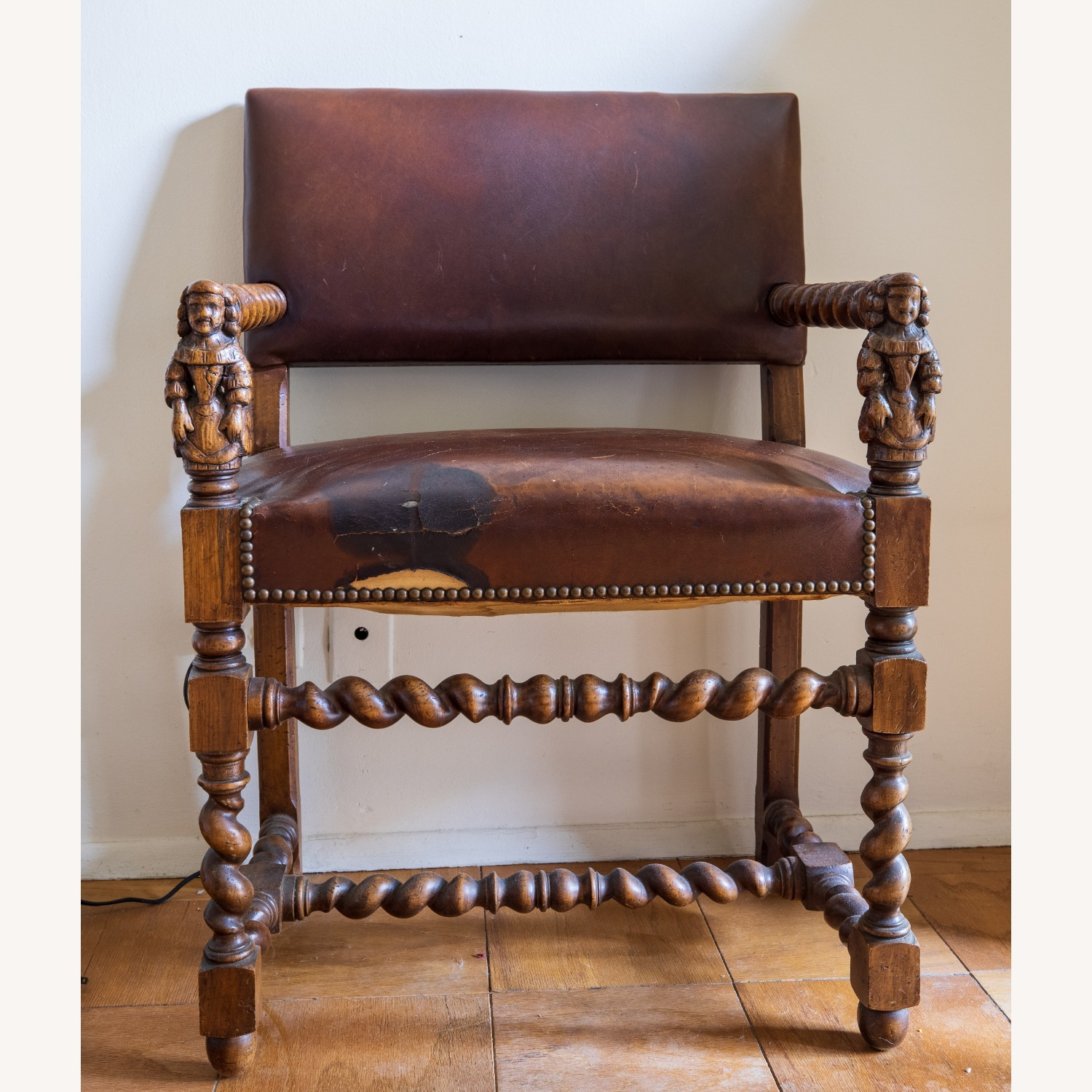 Wooden Antique Chair with Carved Men - image-1