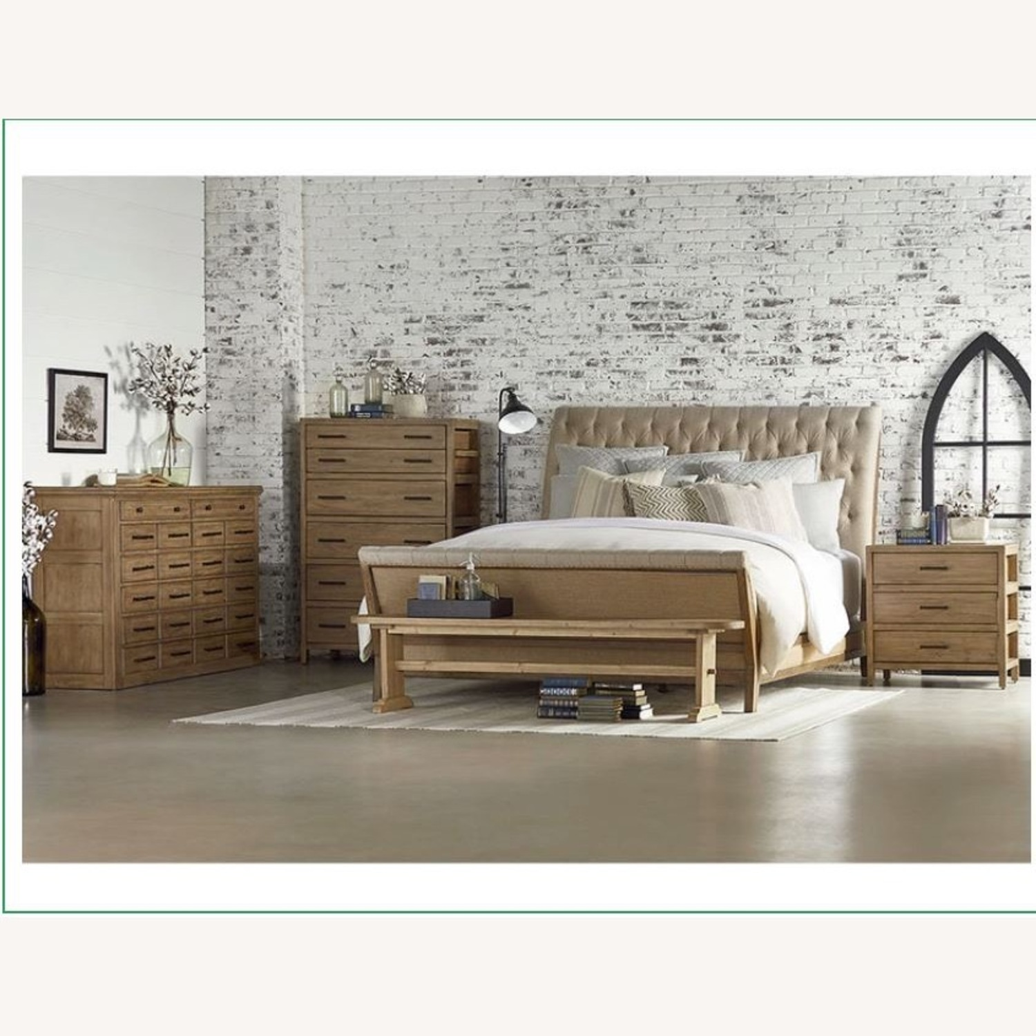 Queen Bed Upholstered Sleigh Bed Natural Wood - image-2