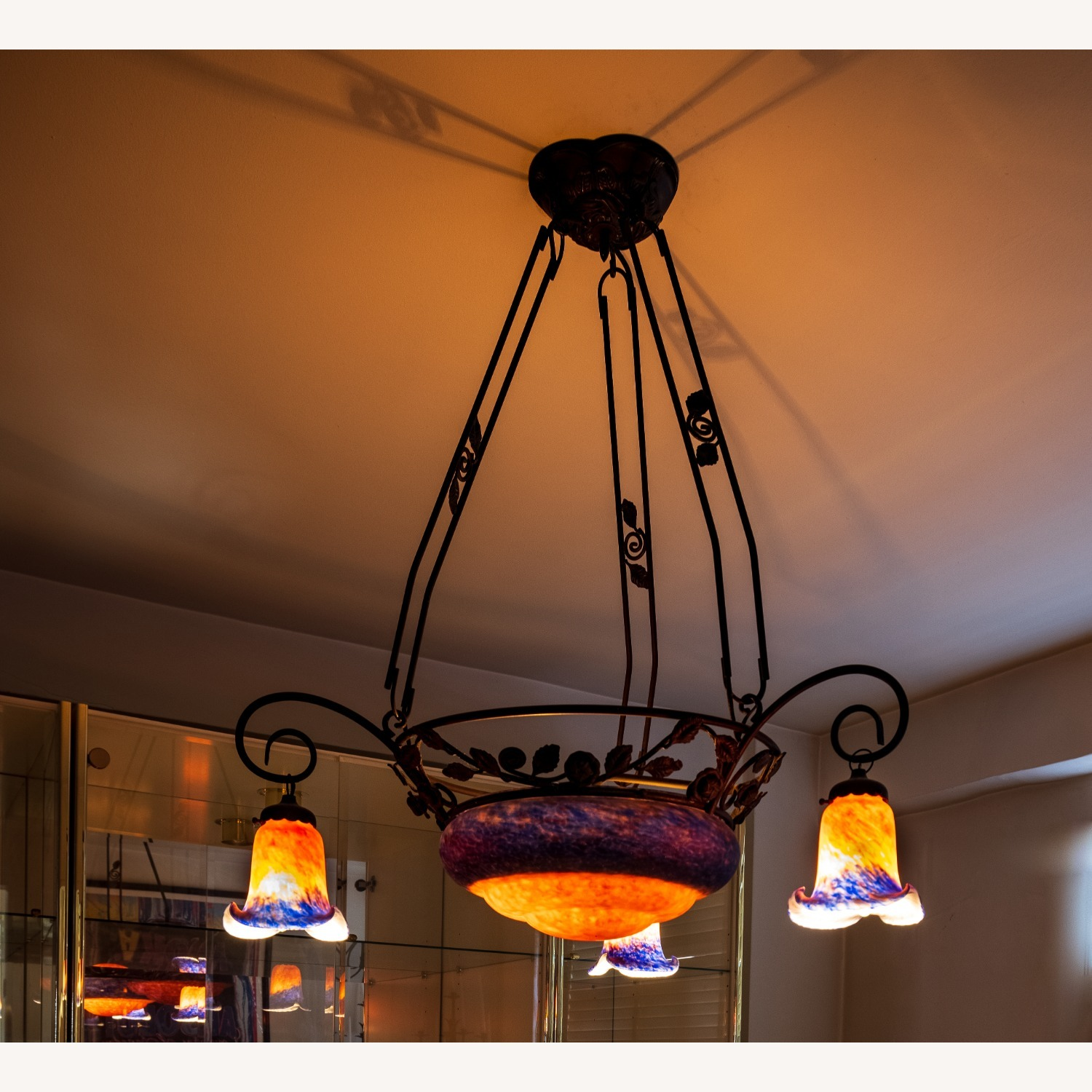 Tiffany Style Pink and Blue Chandelier - image-1