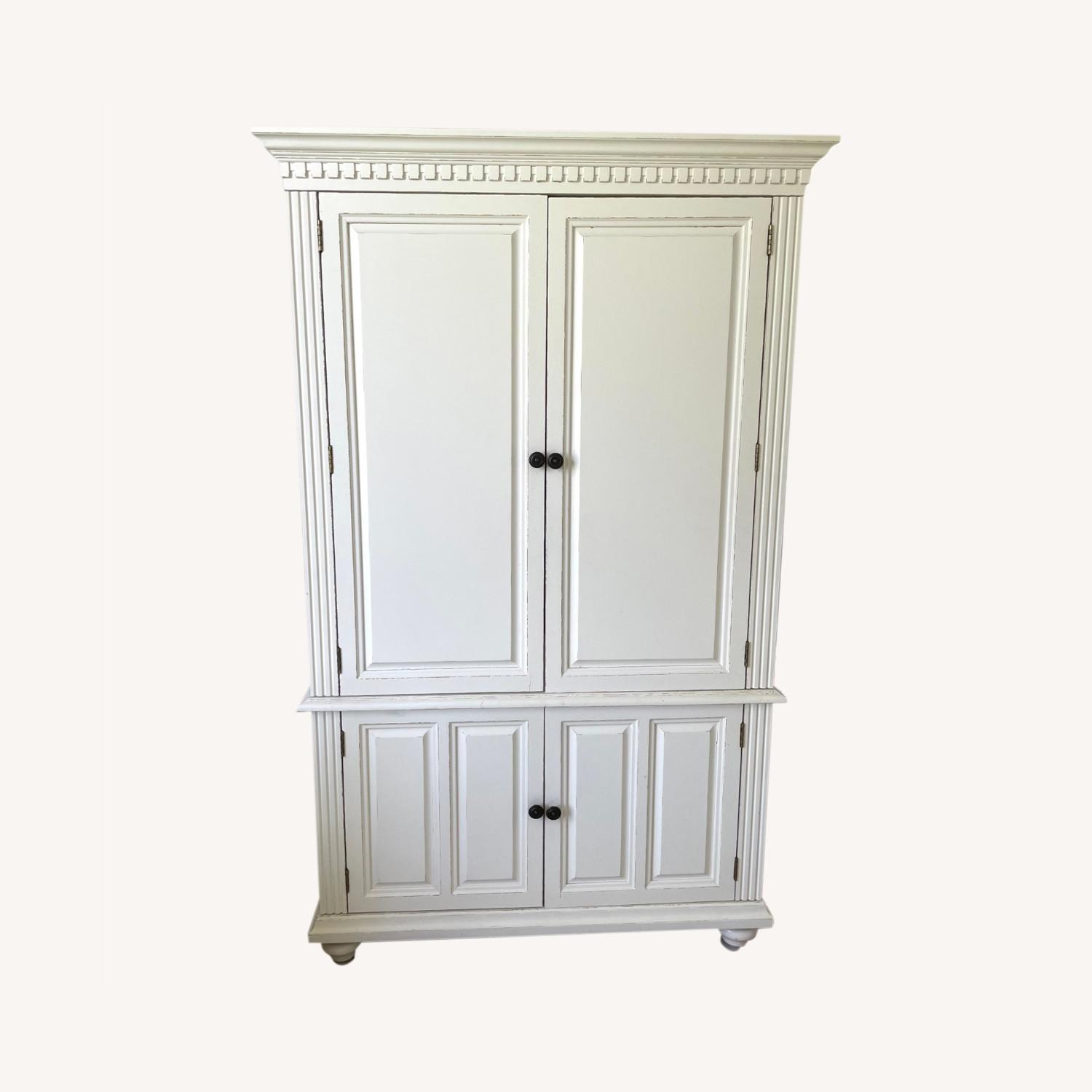 White Wooden Armoire / TV Cabinet - image-0