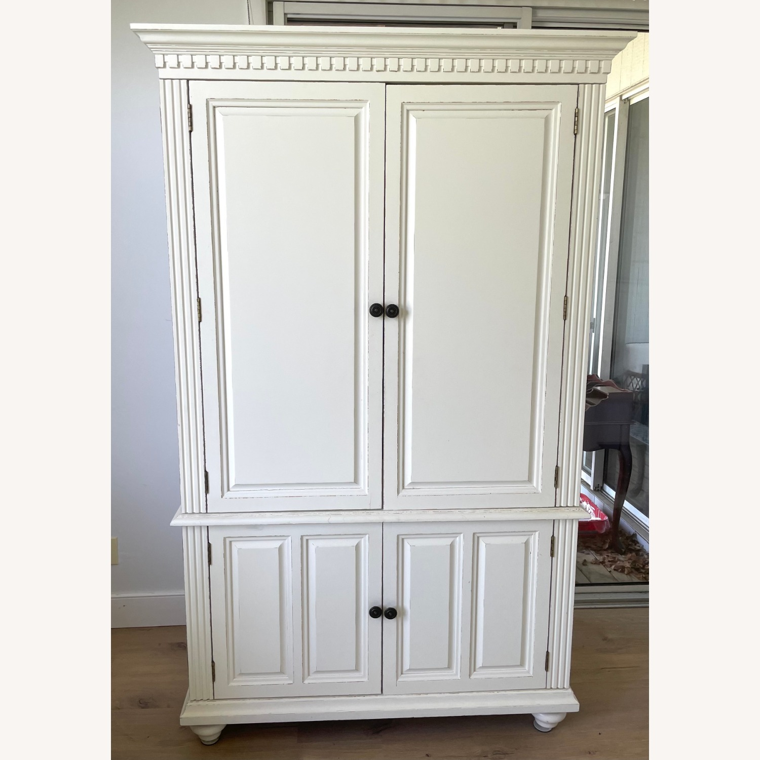White Wooden Armoire / TV Cabinet - image-1