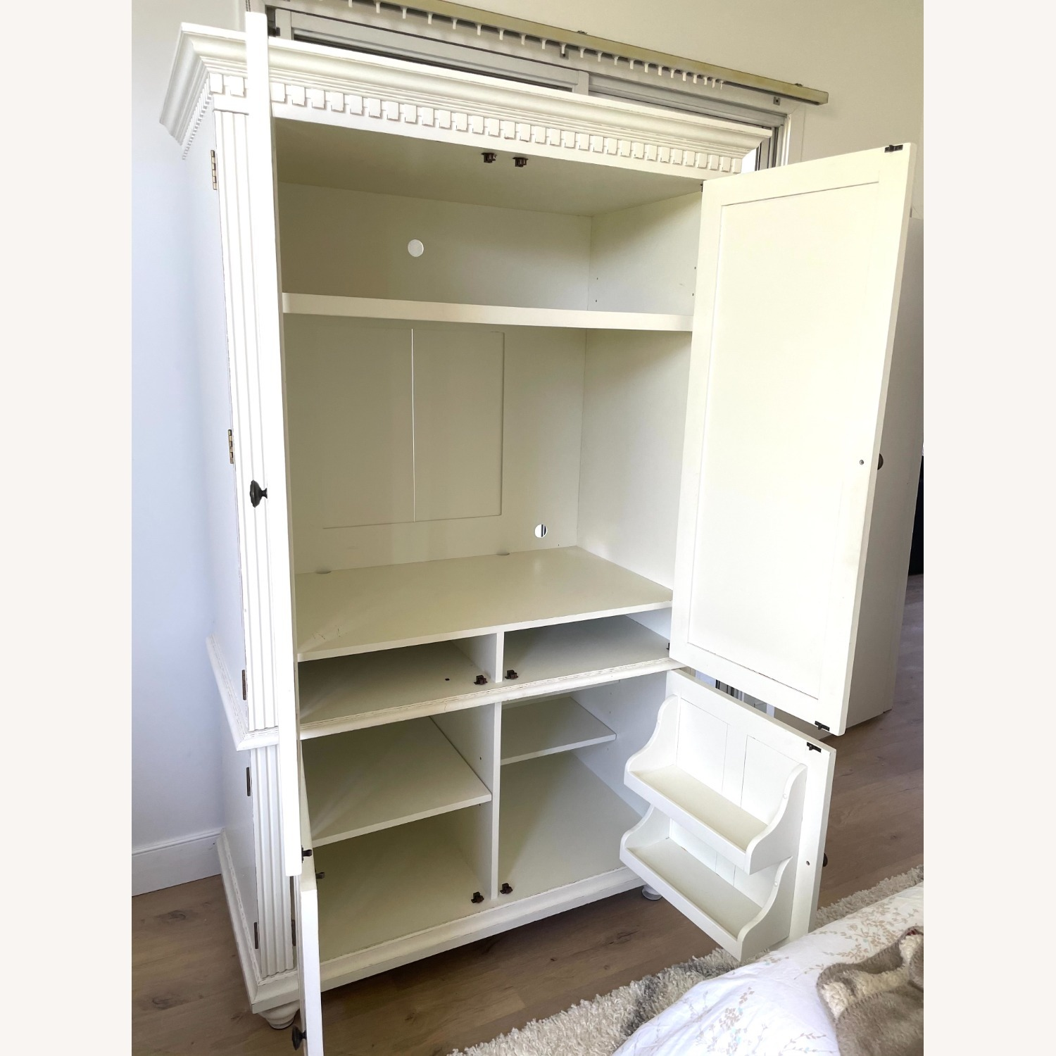 White Wooden Armoire / TV Cabinet - image-5