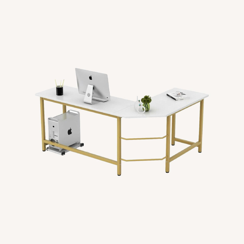 White & Gold Desk - image-0