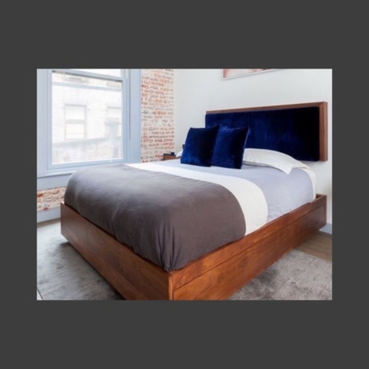 Italian Walnut Queen Sized Bed Frame - image-1