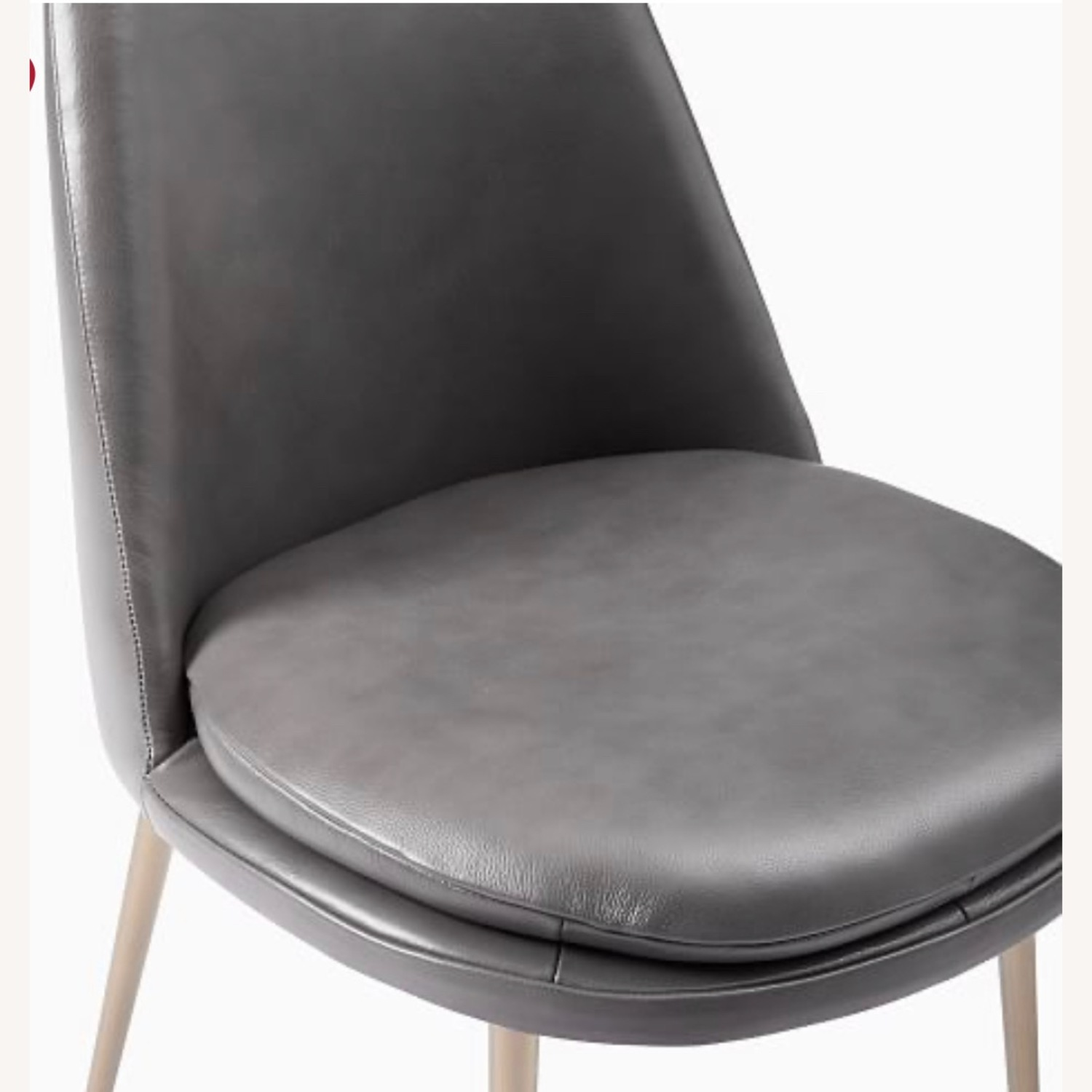 West Elm Finley Leather Dining Chair Gray - image-1
