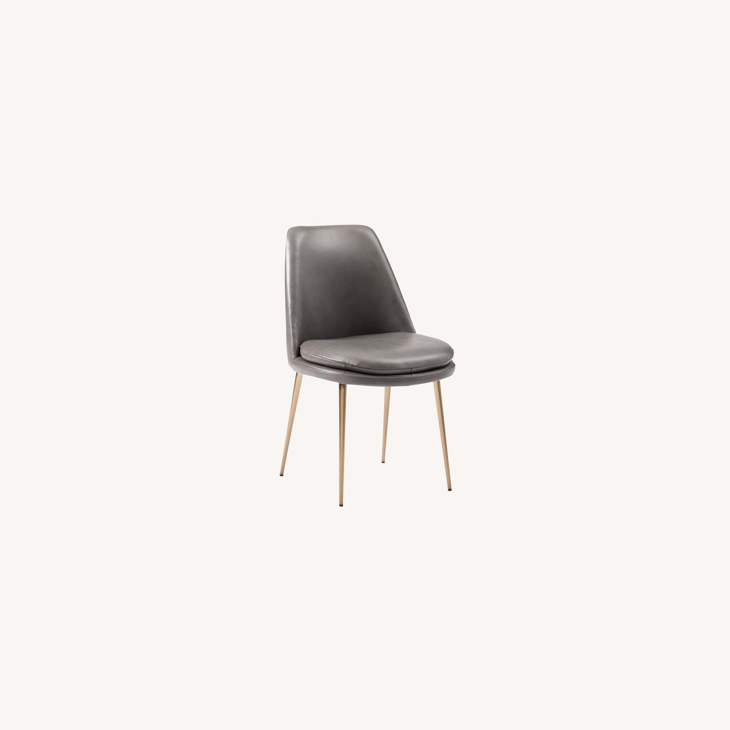 West Elm Finley Leather Dining Chair Gray - image-0