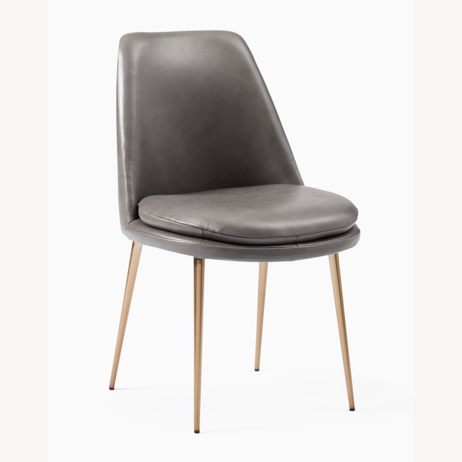 West Elm Finley Leather Dining Chair Gray - image-3