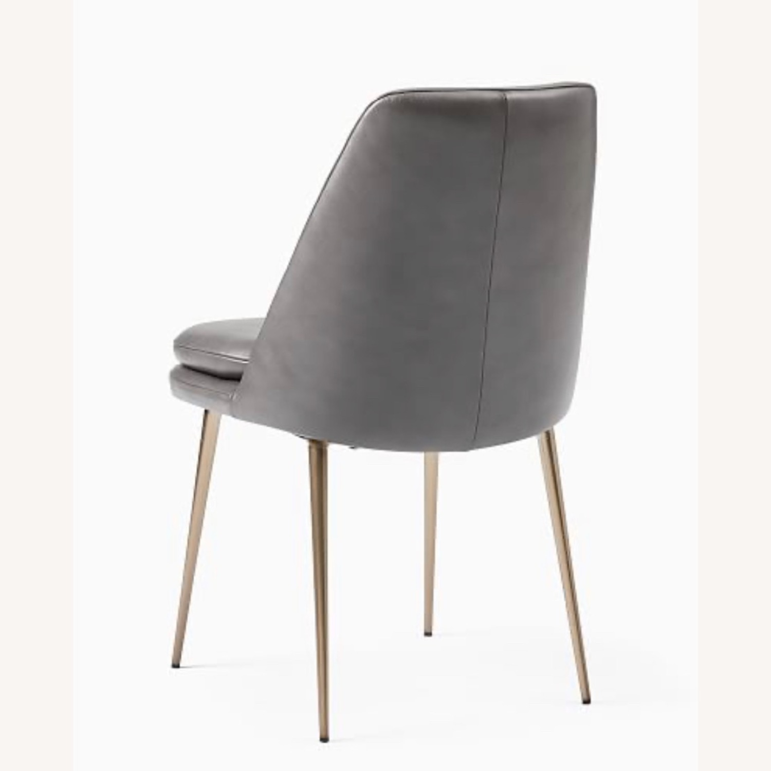 West Elm Finley Leather Dining Chair Gray - image-2