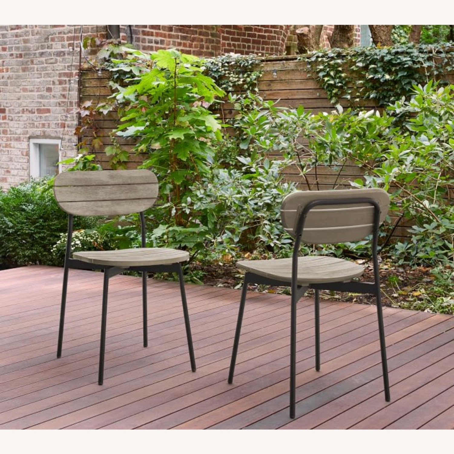 West Elm Frame Outdoor Set of 2 Dining Chairs - image-2