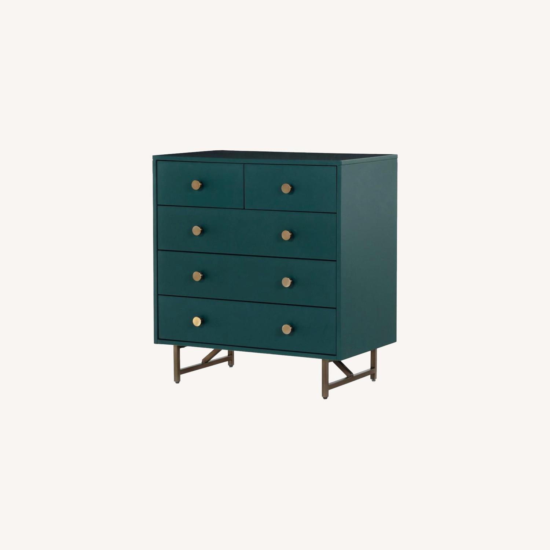 West Elm Juniper Green & Brass 5-Drawer Dresser - image-0