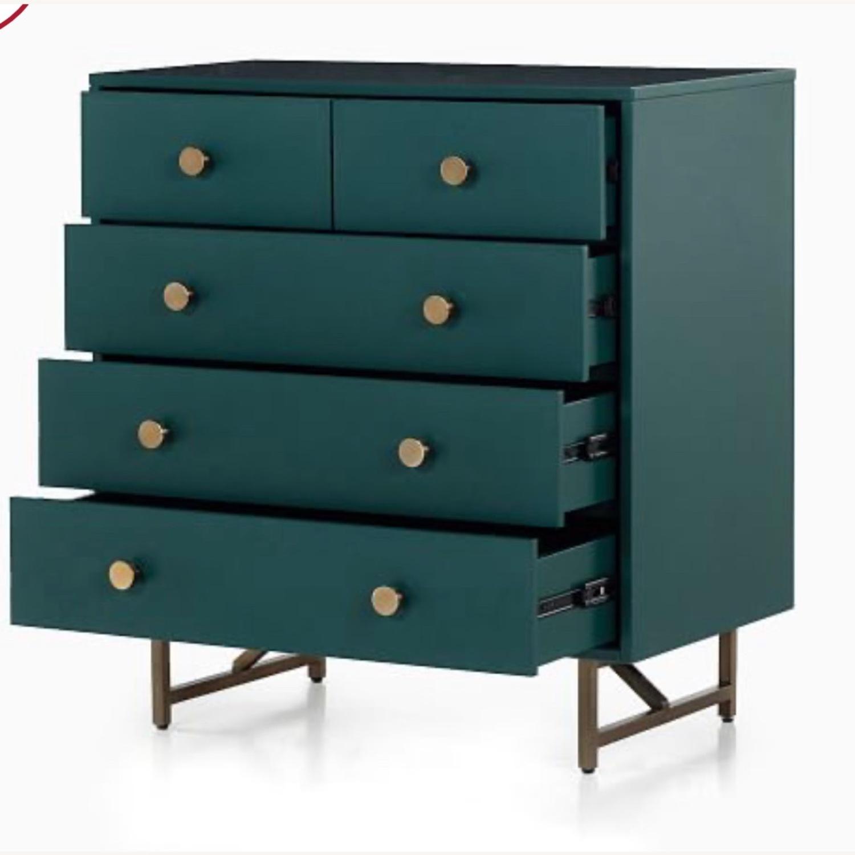 West Elm Juniper Green & Brass 5-Drawer Dresser - image-2
