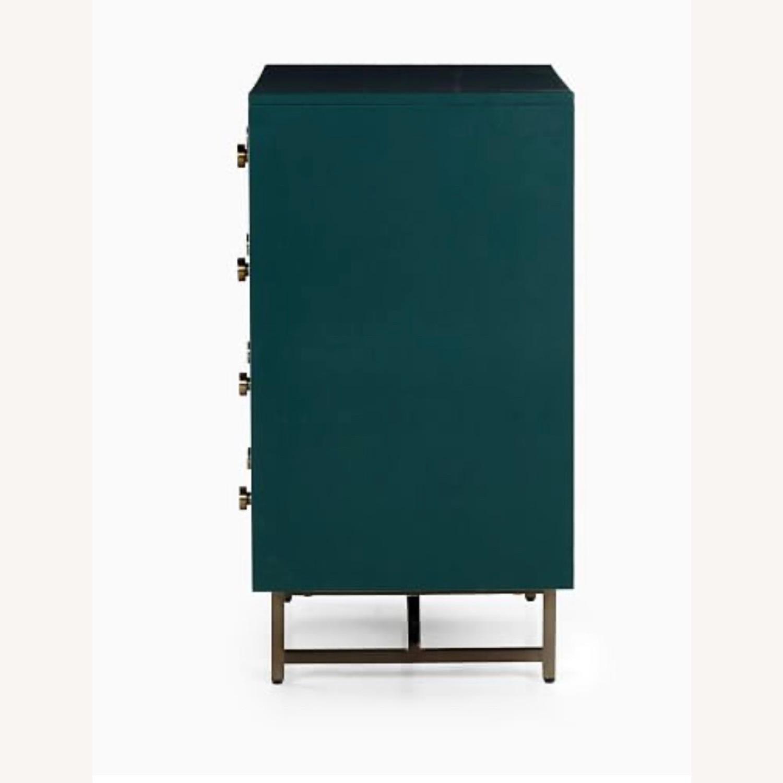 West Elm Juniper Green & Brass 5-Drawer Dresser - image-4