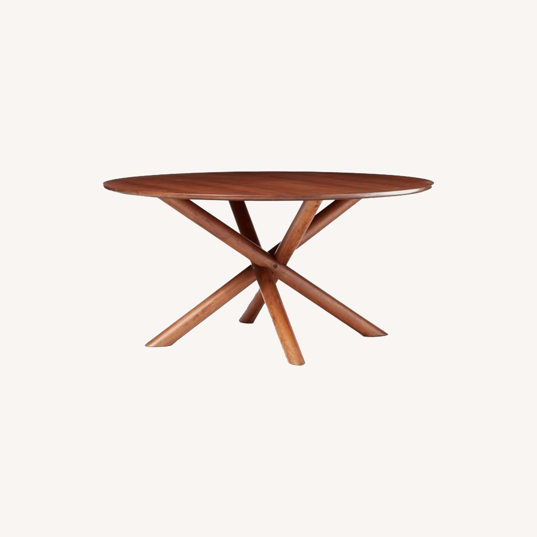 "West Elm Jax 60"" Round Dining Table, Walnut - image-0"