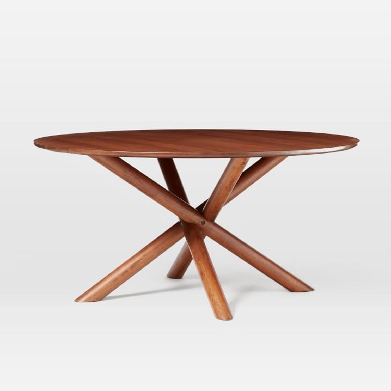 "West Elm Jax 60"" Round Dining Table, Walnut - image-1"