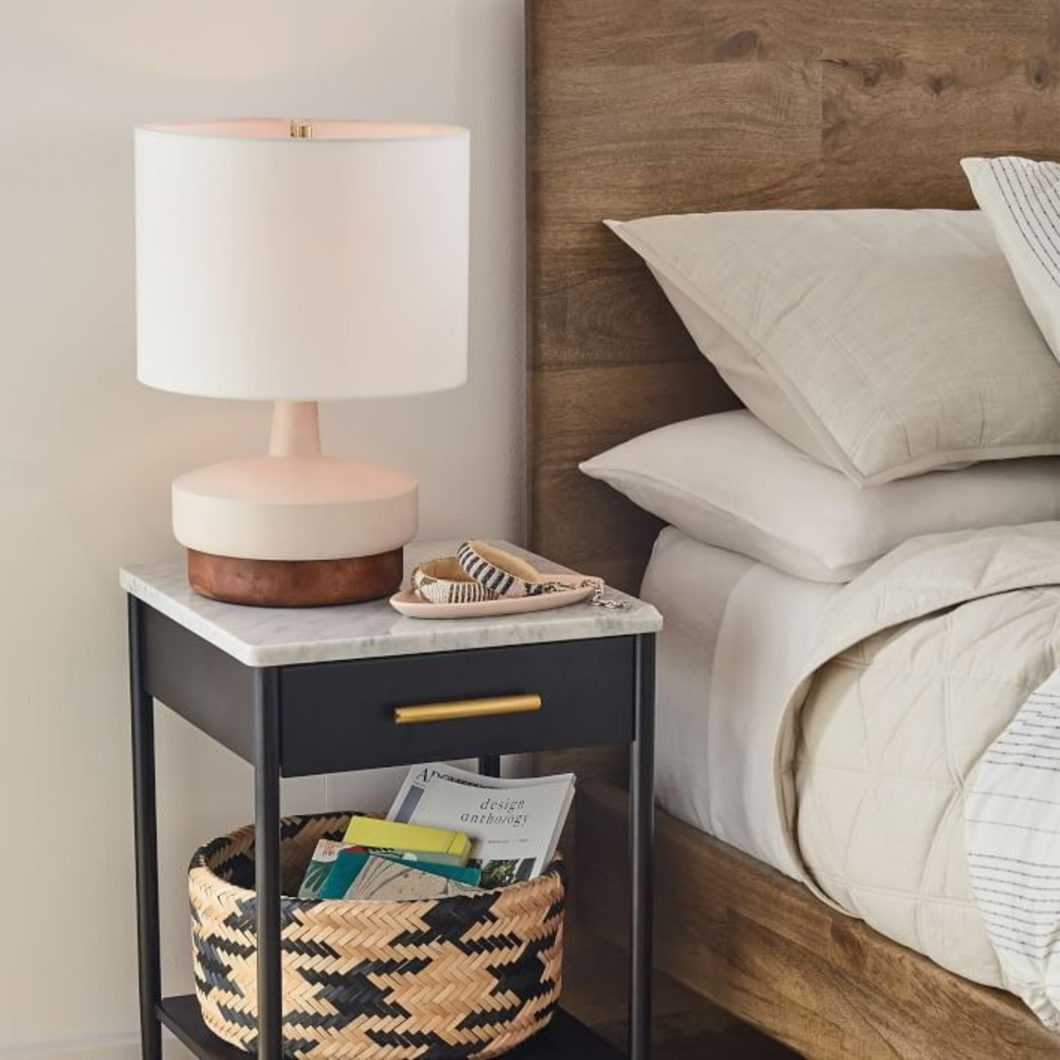 West Elm Wood + Ceramic Table Lamp, Small - image-2