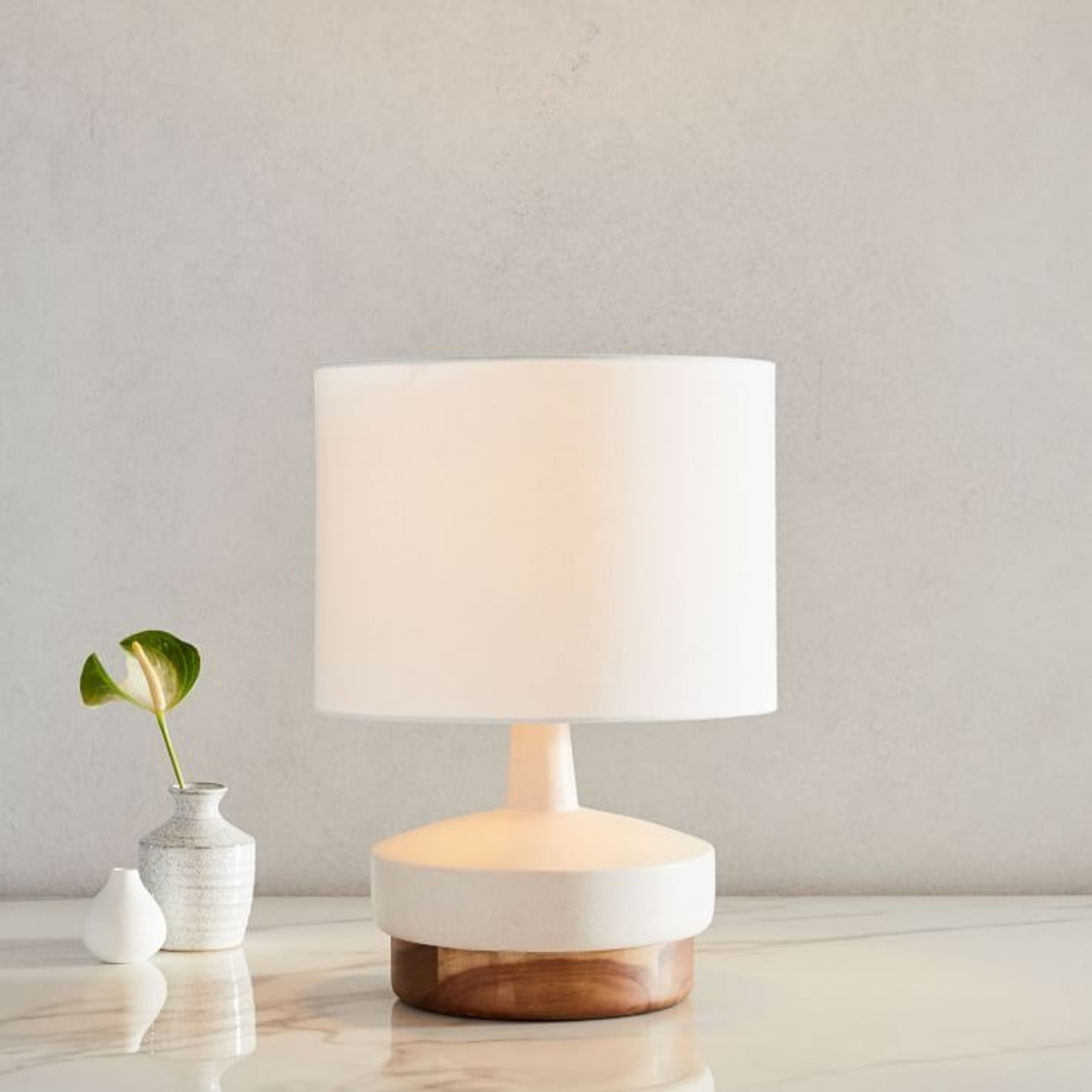 West Elm Wood + Ceramic Table Lamp, Small - image-1