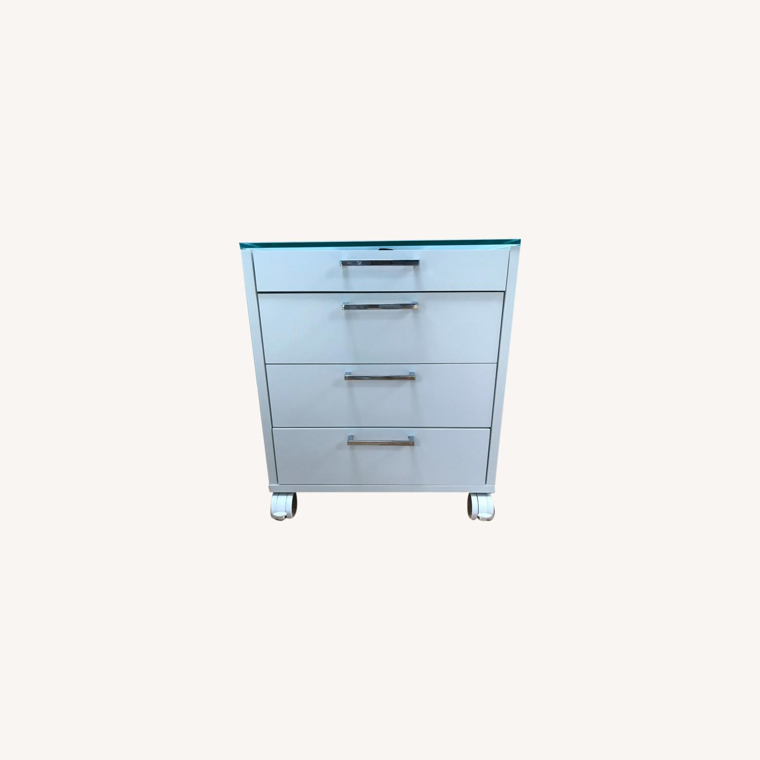 Side Table / Storage - Glass Top with Wheels - image-0