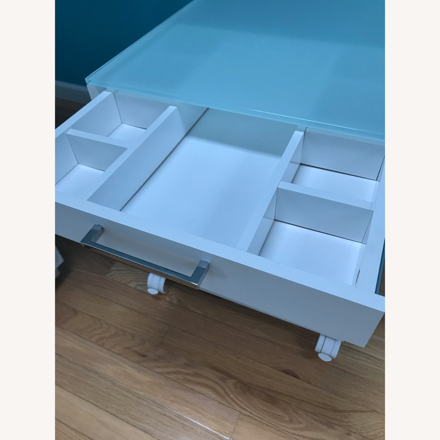 Side Table / Storage - Glass Top with Wheels - image-6