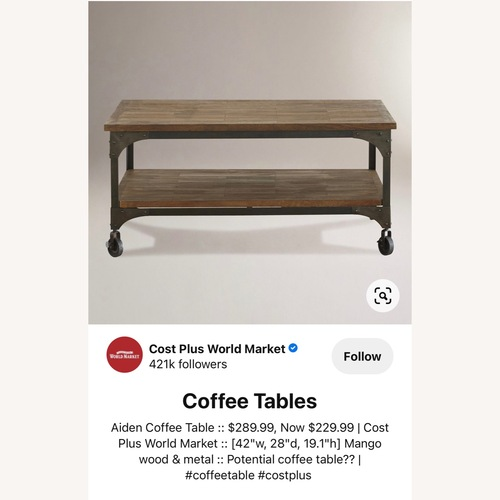 Used World Market Aiden Coffee Table - Industrial look for sale on AptDeco