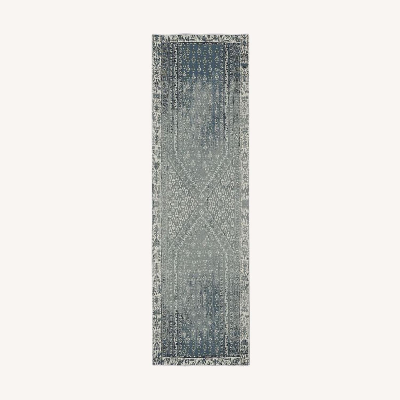 West Elm Distressed Ensi Rug, Blue Stone, 2.5'x9' - image-0