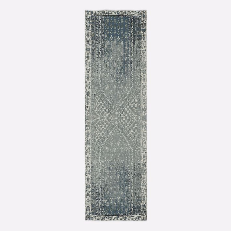 West Elm Distressed Ensi Rug, Blue Stone, 2.5'x9' - image-2