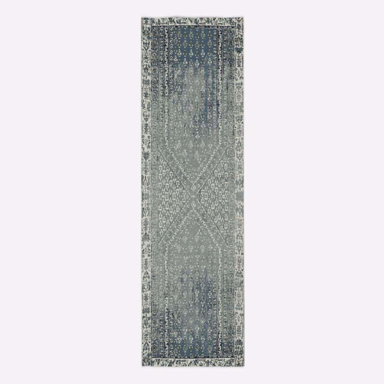 West Elm Distressed Ensi Rug, Blue Stone, 2.5'x9' - image-1