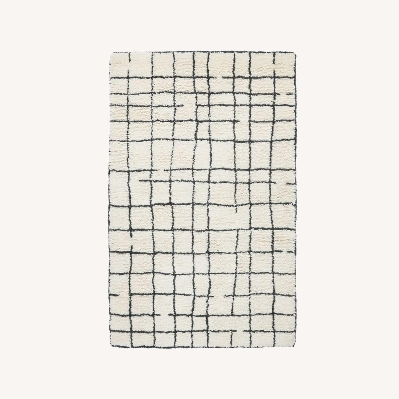 West Elm Grid Shag Rug, 5'x8', Iron - image-0