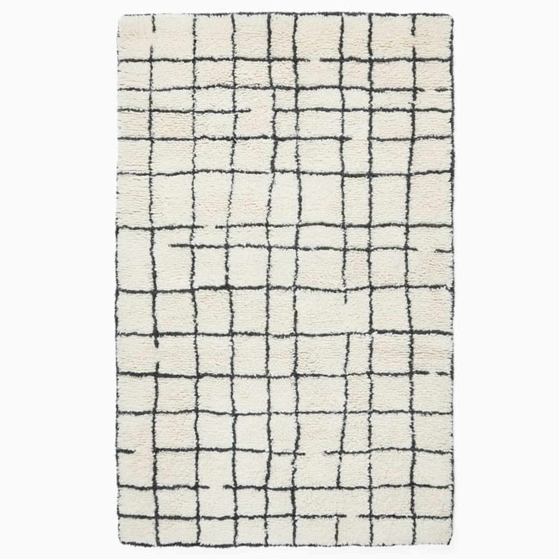 West Elm Grid Shag Rug, 5'x8', Iron - image-1